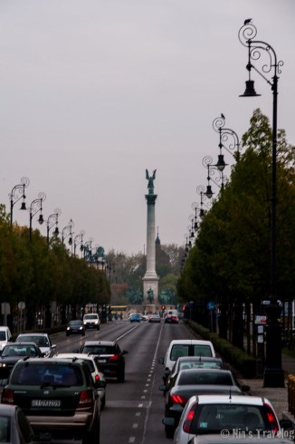 The Column with its Archangel Gabriel as seen from Andrassy Avenue