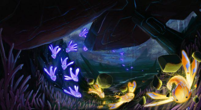 Das Foto zeigt einen Ausschnitt aus dem Spiel Lumini. Der Spieler steuert einen bunten Schwarm von Lumini.