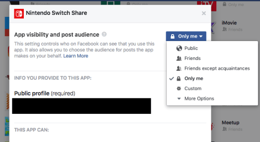 """Change audience to """"Only me"""""""