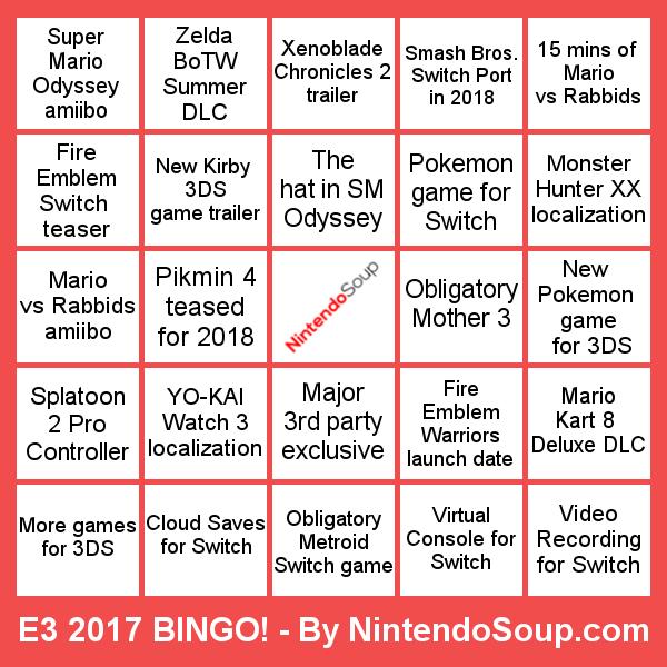 Feature Nintendosoup S Bingo Card For E3 2017 Nintendosoup