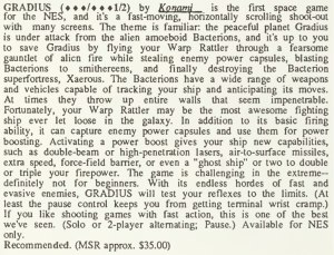 Gradius Review - Computer Entertainer - January 1987