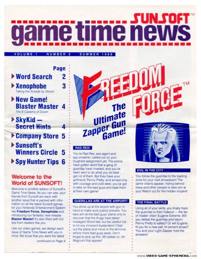 Sunsoft Game Time News | Summer 1988 – Pg 1 – Nintendo Times