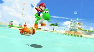 Super Mario Galaxy 2 Wii Screenshots - Mario & Yoshi at Beach Level