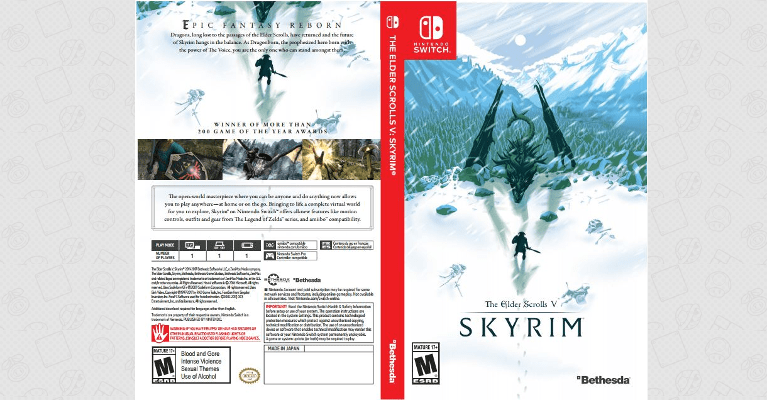 Printable Box Art Covers for Skyrim on Switch & PlayStation VR