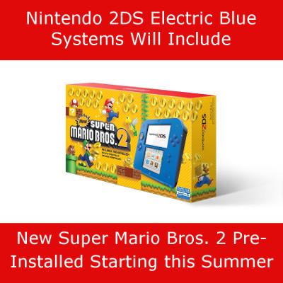 Nintendo 2DS Electric Blue Bundle
