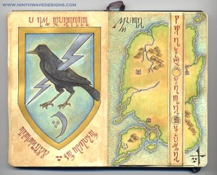 Crow Shield and Map: Acrylic inks, watercolor pencils, and metallic acrylic paint - 2006.