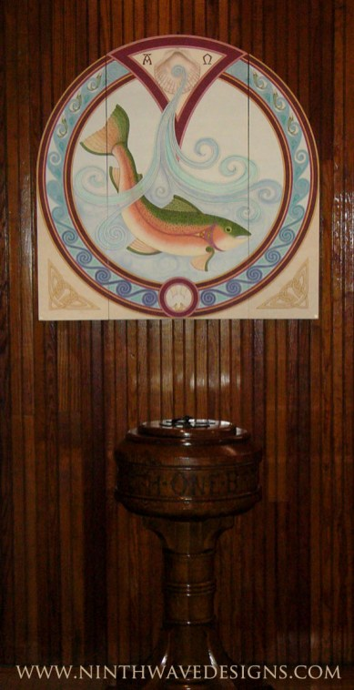 Baptismal Triptych: Shown in the open position hanging above the existing baptismal font.