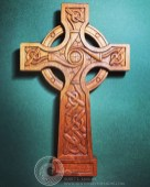 Tree-of-Life Celtic Cross carved from mahogany wood.