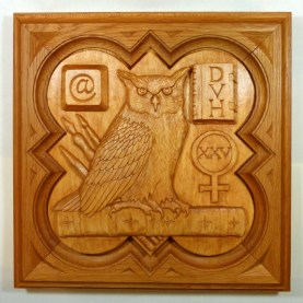 """Commissioned plaque, 11.25"""" x 11.25"""", stained basswood."""