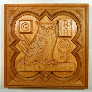 """SPS Form of 1996 Plaque, 11.25"""" x 11.25"""", stained basswood."""