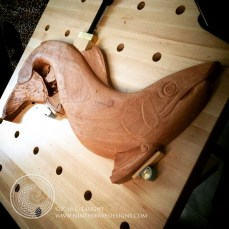 the roughed out shape of the salmon.