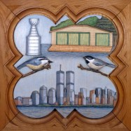 """Commissioned plaque 11.25"""" x 11.25"""", painted basswood."""