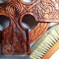 Detail of the Elemental Celtic Cross - oiled and waxed.