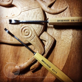 Back bent gouges used to carve the spirals.