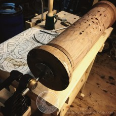 Another view of the initial setup using one carving vise at either end.