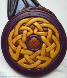 The knotwork base of the Celtic heron.