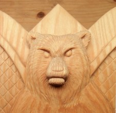 Detail of the bear's face.