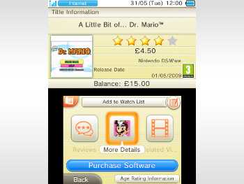 Nintendo 3DS eshop reviews feature a star rating system.