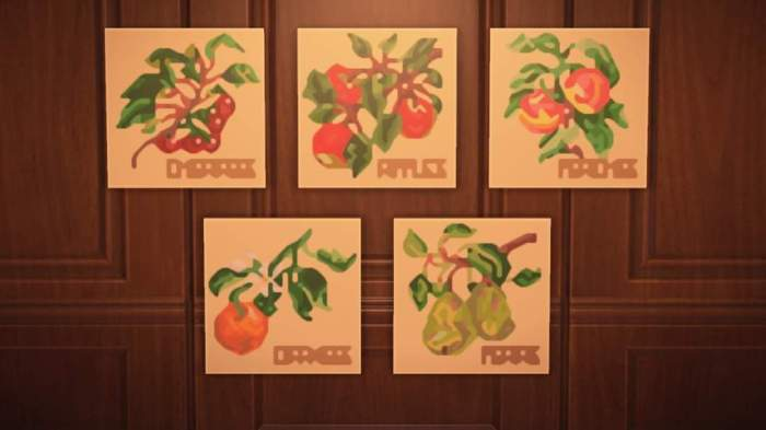 ACNH paintings abstract fruit
