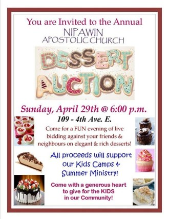 Dessert Auction Hosted by Nipawin Apostolic Church