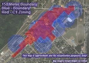 150 Meter Boundary Blue - Boundary Red - C1 Zoning
