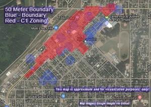50 Meter Boundary Blue - Boundary Red - C1 Zoning
