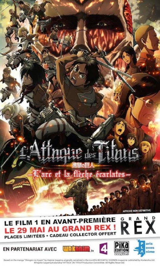 L'Attaque des Titans : L'Arc et la Flèche Écarlates, Shingeki no Kyojin, Actu Ciné, Cinéma, Hajime Isayama, Le Grand Rex,