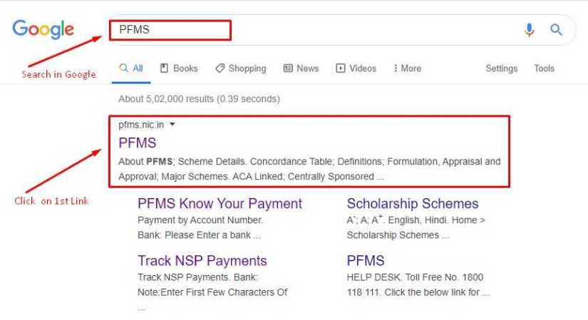 Search Result for PFMS in Google