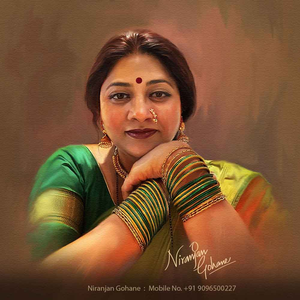 Self Digital Portrait Painting By Famous Indian Artist Ng Art Studio