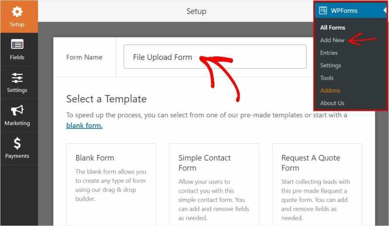 Name field Upload Form using WPForms