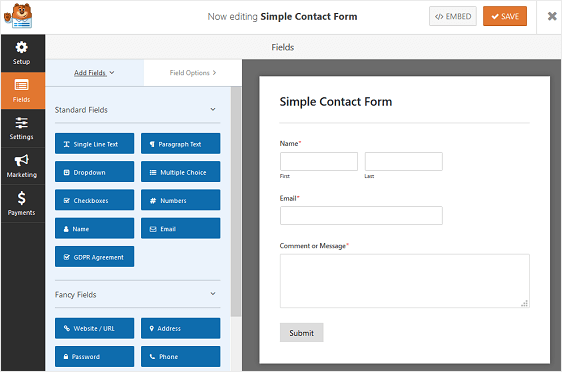 How To Create an Engaging Multi-Page Form with WPForms Let me make it easy for you with the Step-by-step procedure of how to create a Multi-Page form with WPForms. I recommend not to skip any steps while creating a Multi-step form. let's start!! Step 1 - Create a Form in WordPress To start creating a Form in WordPress, the first thing you have to do is to install and activate WPForms. After installing it, go to WPForms from your dashboard and click on add new in order to create a new Form. Now, with WPForms you can break any form into multiple-steps or parts. On the setup screen, remember to name your form and select the template you want to use, depending upon your requirements. For example, let me choose the simple contact form template.