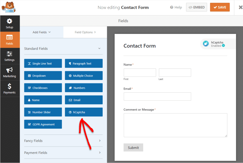 To enable hCaptcha in WPForms