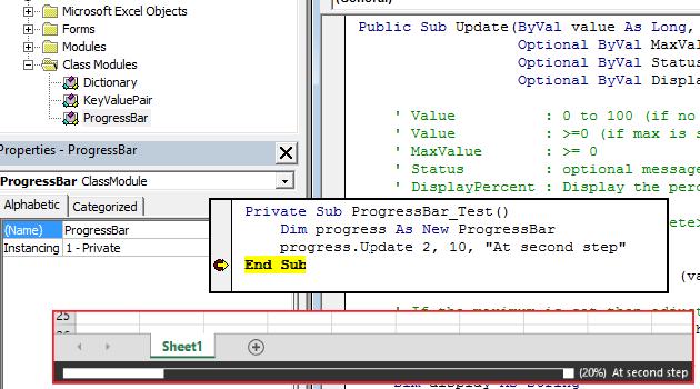 Updating status bar in excel vba