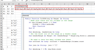 Convert Excel data to JSON format using VBA