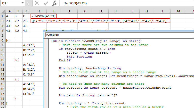 Excel to JSON using Excel VBA