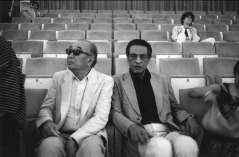 Satyajit Ray and Akira Kurosawa at the 1982 Venice Film Festival in Italy