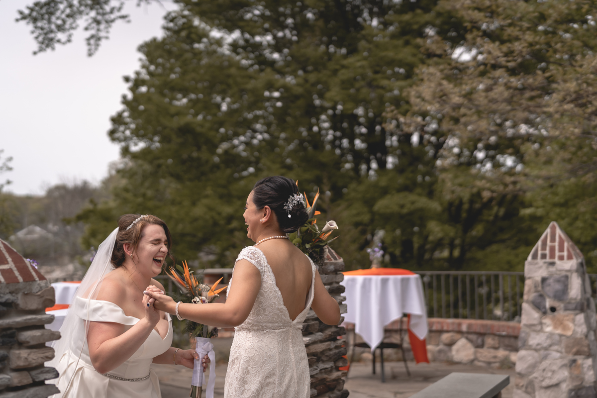 Beatrice and Jennifer share a moment of joy together after their first look.