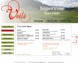 Voilà Website - À La Carte Menu page