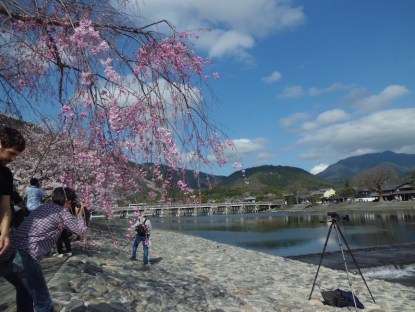 Some of the tourists were taking picture of Togetsu-kyo bridge. It's said that this bridge is the symbol of Arashiyama. Far behind the bridge, hills stood up, covered with trees. During fall season, the hills are coloured orange-reddish by maple leaves.