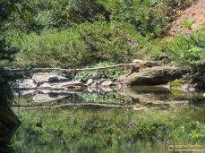 পাহাড়ী ঝিরিতে সাঁকো - পানিতে তারই প্রতিবিম্ব - স্বাগত জানানোর আরেক নমুনা (ছবি: লেখক)