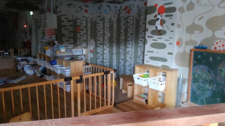 午睡中の保育室