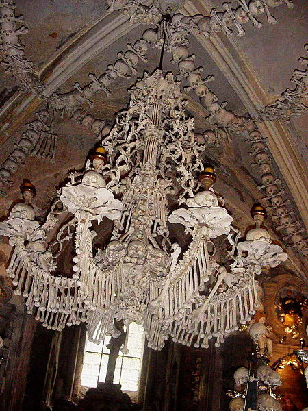 The Chandelier Made of Human Bones at Sedlec Ossuary