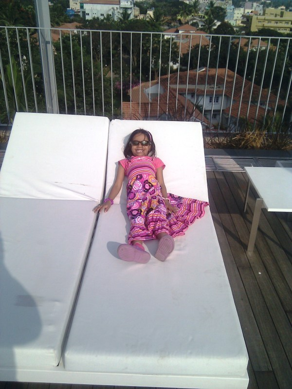 Lounging on the sunbeds