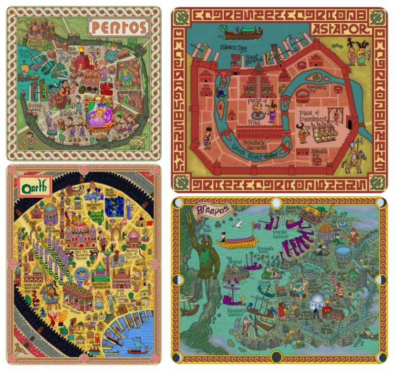 Maps of Pentos, Astapor, Qarth, and Braavos