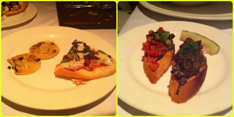 Pizza and Ravioli on my plate accompanied by some crostini