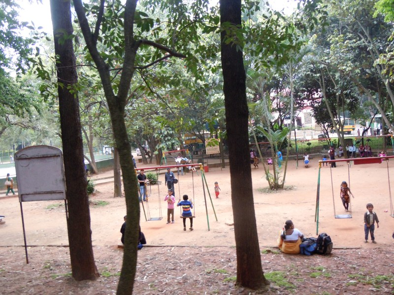 The view of the playground from the train