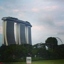 View of the Marina Bay Sands hotel and the Singapore Flyer in the distance