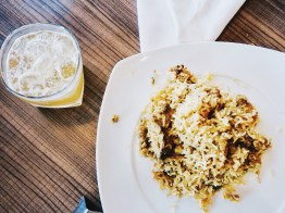 Chicken biryani with whisky