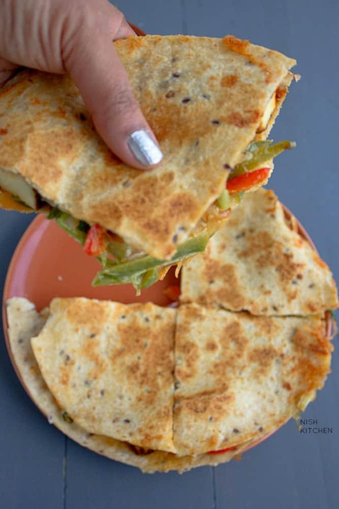 Indian style tandoori paneer quesadilla