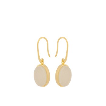 Haze Earrings - White Druzy oval gold von Pernille Corydon